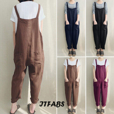 Plus Size Womens Harem Casual Linen Pants Jumpsuit Strap Harem Trousers Overalls - Plus Size Bloomers