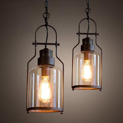 Industrial Loft Style 1-Light Glass Shade Rust Metal Pendant Lighting -