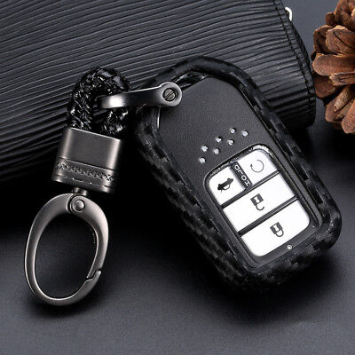 Carbon Fiber Car Key Case Accessories For Honda Accord CR-V HR-V Civic 1set