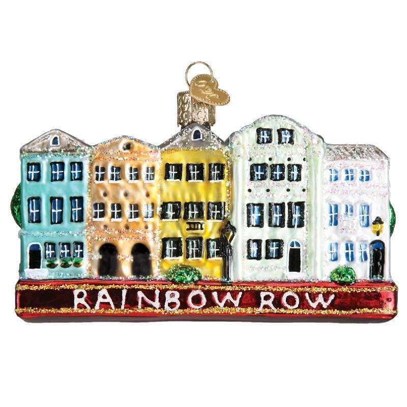 RANBOW ROW CHARLESTON SOUTH CAROLINA OLD WORLD CHRISTMAS GLASS ORNAMENT 20100