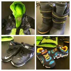 Boys winter coat boots and shoes