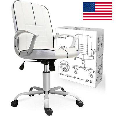 White Faux Leather Modern Executive Computer Conference Desk Office Task Chair