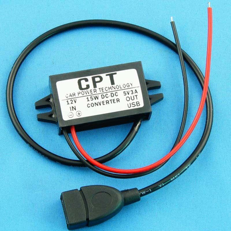 DC-DC 12V to USB 5V 3A 15W Power Converter Regulator Step Down for Car GPS Phone