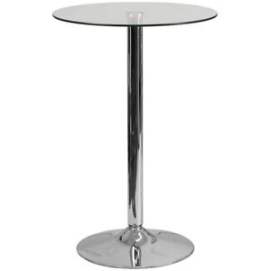 23.5-Inch Round Glass Table with 35.5-Inch Height Chrome