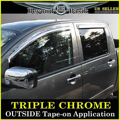 For 2004-2015 Nissan Titan CREW 4PC Chrome Door Vent Window Visor Rain -