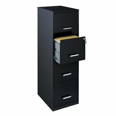 Space Solutions 18 Deep 4 Drawer Metal File Cabinet Black