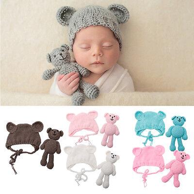 Newborn Baby Girl Boy Photography Prop Photo Crochet Knit Costume Bear +Hat Set - Baby Girl Bear Costume