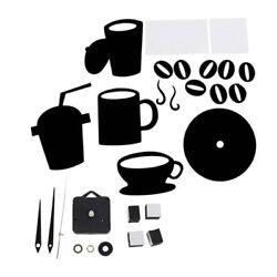 Modern Wall Clocks DIY Large Cup Coffee Stickers Decals Still Alarm - Black S8E2