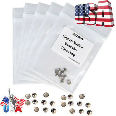 50pcs Dental Orthodontic Lingual Buttons Bondable Round Mesh Base Azdent