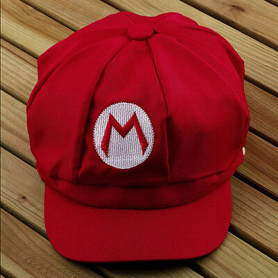 Kostüm Cosplay Hut (Chic Super Mario Bros Cosplay Erwachsene Größe Hut Mütze Baseballkostüm Rot W0)