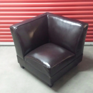 *REDUCED* 2 identical black leather corner chairs $50