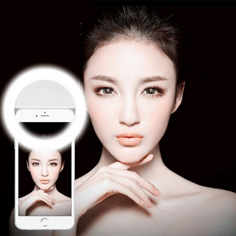 LED SELFIE RECHARGEABLE CLIP RING LIGHT UP FLASH PORTABLE UNIVERSAL SMART PHONE