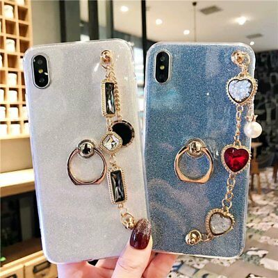 Fashion Bling Sparkle Diamond Pearl Bracelet Phone Case Soft  Ring Finger Stand Diamond Pearl Fashion Ring