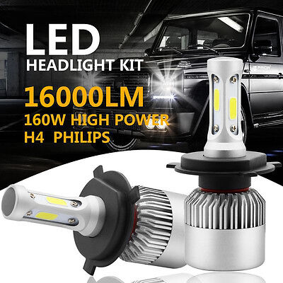 PHILIPS COB H4 HB2 9003 160W 16000LM LED Headlight Kit Hi/Lo Power Bulbs 6500K