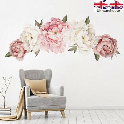 UK Pink Peony Flower Wall Stickers Kids Baby Nursery Decor Mural Decal Top