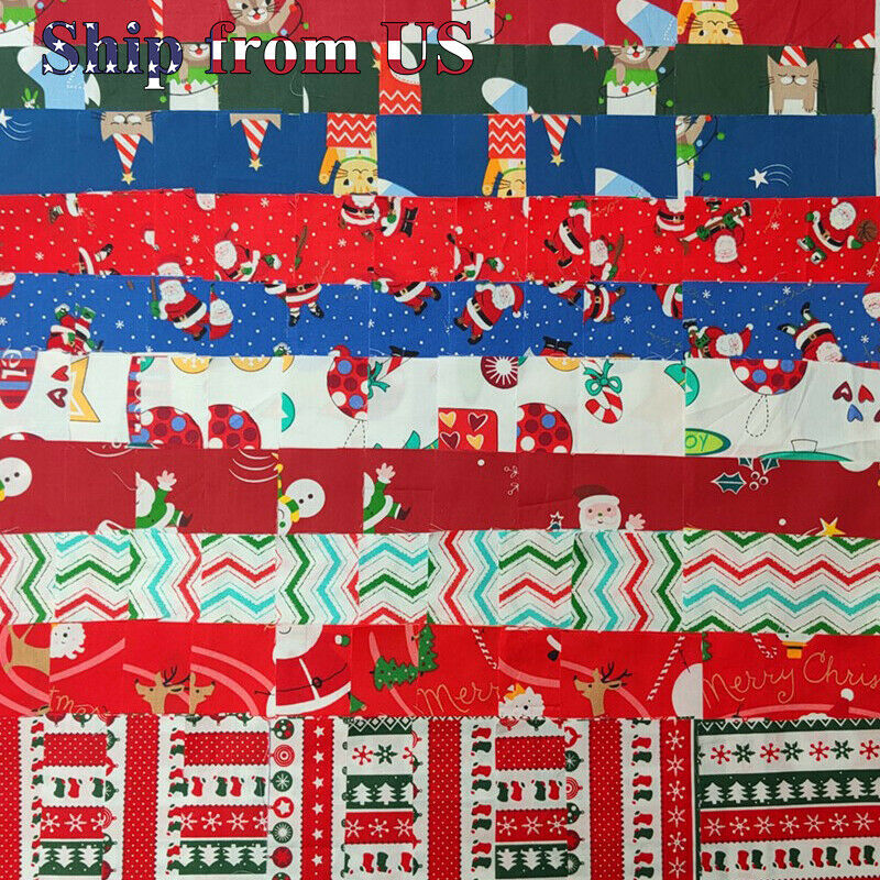 Christmas Fabric Charm Pack Lot 100 5″ SQUARES Holiday Quilting Fabric Pre-cut Crafts