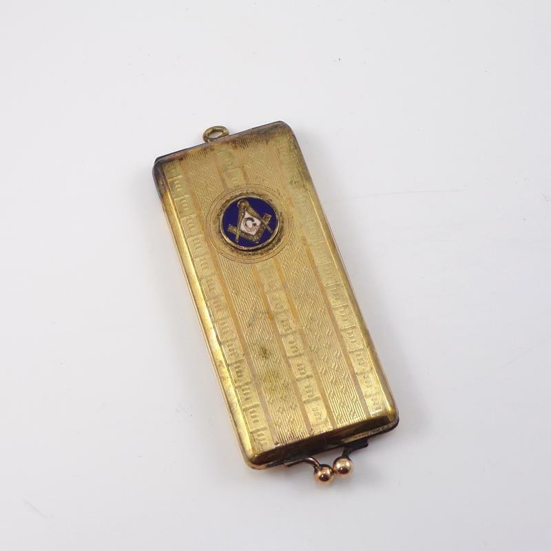 Vtg Antique Gold Filled Masonic Locket Stamp Holder Pocket Watch Fob Pendant QYK