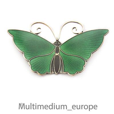 Silber Brosche David Andersen Schmetterling Emaille grün enamel silver brooch