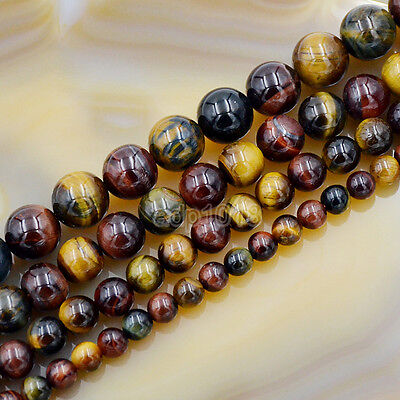 Natural Yellow Red Blue Tiger's Eye Gemstone Round Beads 15'' Assorted - Natural Blue Tiger Eye Beads