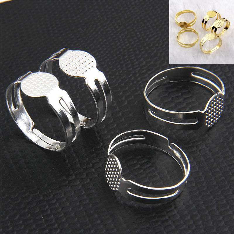 150Pcs Silver/Golden Plated Adjustable Ring Blanks 8mm Flat Pad Glue Jewellery