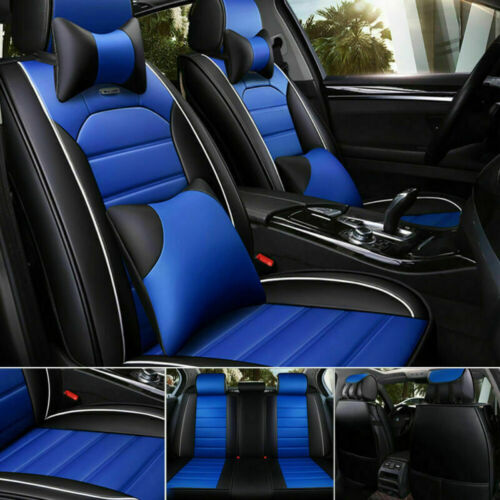 Black/Blue PU Leather Car Seat Cover Protector 5-Seats