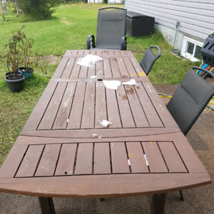 Extendable outdoor wooden table, 8 chairs,  and outdoor mat.