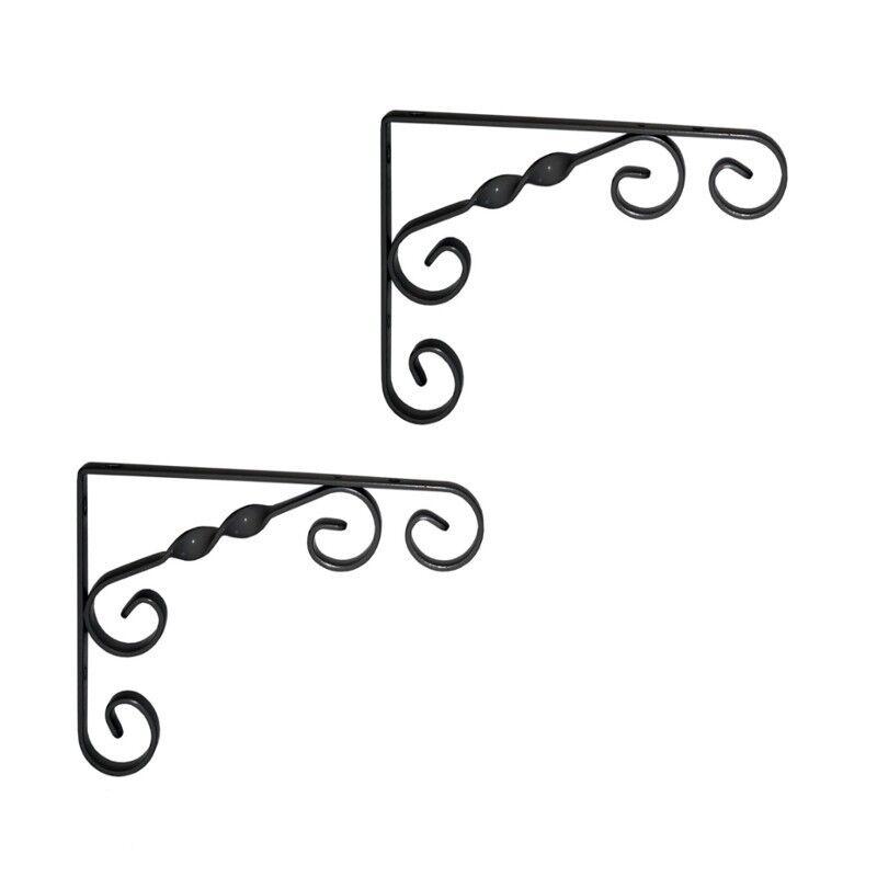 2er Set Winkel für Waschtisch-Platten 23x18 cm schwarz Wandhalterung wohnfreuden