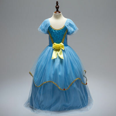 Cinderella Costume For Teens (Girls kids Cinderella Princess Party Fancy Costume Dress for Christmas Gifts)