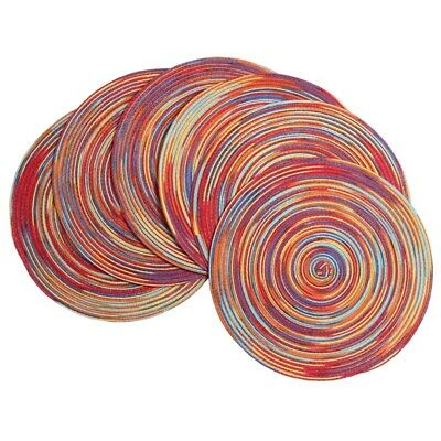 Braided Colorful Round Place Mats for Kitchen Dining Table Runner Heat Ins Z6O1