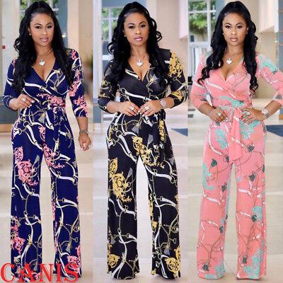 Womens Clubwear Playsuit Bodysuit Party Jumpsuit Romper Floral Long Trousers - Womens Clubwear
