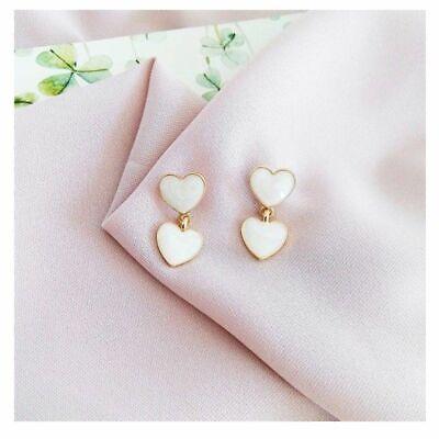 Adorable New Gold White Enamel Double Heart  Stud Dangle (Enamel Heart Dangle)
