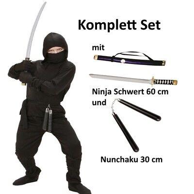BLACK DRAGON NINJA Kinder Kostüm Gr. 128 Komplett Set mit Schwert und - Ninja Männliche Kostüm