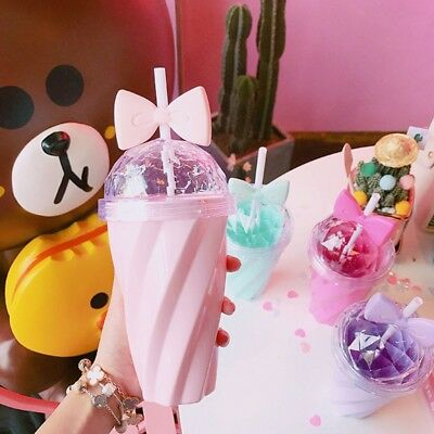 Cute Girly Tumbler with Straw - Drinking Cup 12 oz. Includes Plastic bow + straw - Cute Tumblers With Straws
