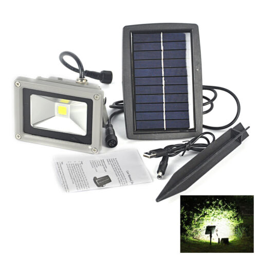 Solar Powered 10W LED Mount Flood Light Outdoor Home Yard