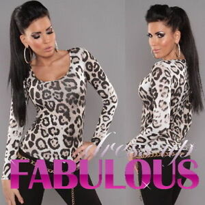 Sexy-Womens-Leopard-Print-Top-Size-10-8-6-Scoop-Neck-Shirt-Party-Casual-XS-S-M