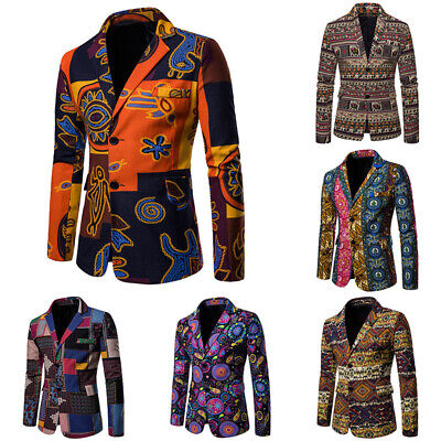 Floral Blazer Coat Fit Casual Stylish Mens Jacket Suit Two Slim Button (Stylish Mens)