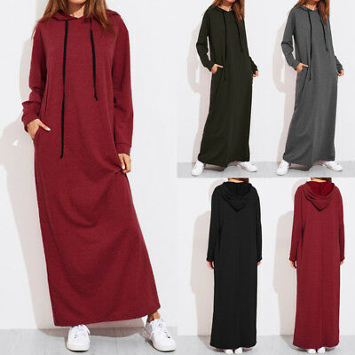 UK Women's Muslim Hoodie Long Sleeve Loose Maxi Abaya Jilbab Dress Top Size 8-26