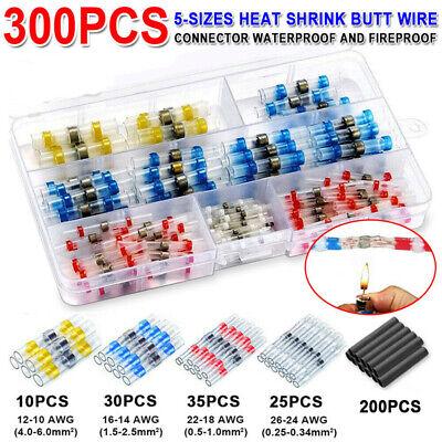 300pcs Solder Seal Heat Shrink Wire Connector Sleeve Kit Waterproof Splice Butt