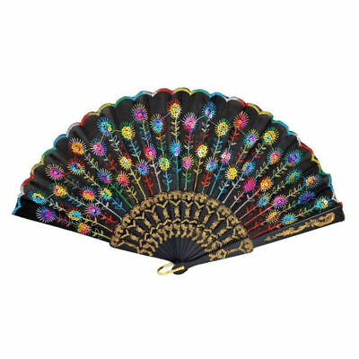 Embroidered Folding Fan Peacock Handheld Fans Gift for Women Home Decoration