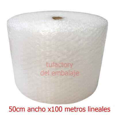 Rollo plastico burbuja transparente 100 metros x 0,5 m ancho y Envio...
