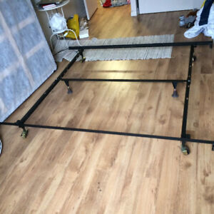 QUEEN MATTRESS, METAL BED BASE and SPRING BOX