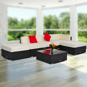 6 pc Sofa Patio Set with Glass Top Table Outdoor Furniture