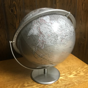 Desktop World Globe Silver Gray - MINT