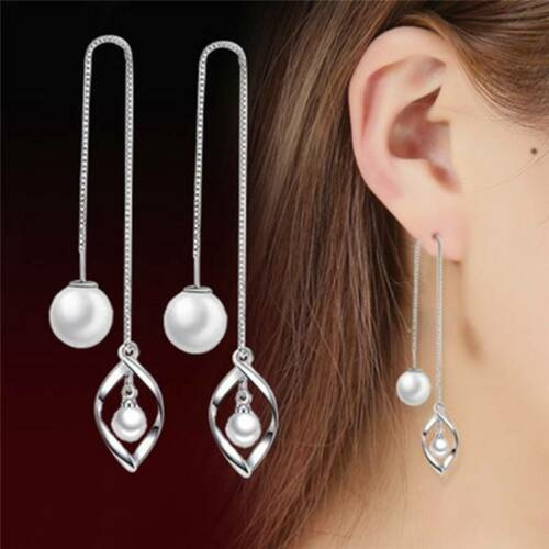 Women Silver Knob Faux Pearl Leaf Earrings Fashion Wild Kore