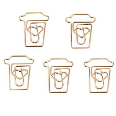 Coffee Cup Mug Shaped Paper Clips Metal Note Clips For Office School Wedding 5L2 - Shaped Paper Clips