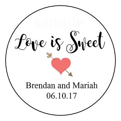 LOVE IS SWEET Personalized Wedding Shower Favor Candy Buffet Sticker Labels  - Love Is Sweet Stickers