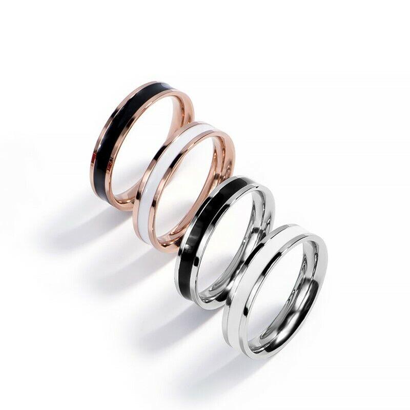 Stainless Steel Black/White Enamel Wedding Band Ring for Wom