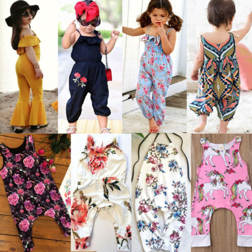 US Newborn Kids Baby Girls Floral Romper Playsuit Clothes Ou