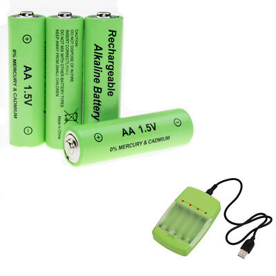 4pcs Alkaline AA 1.5V Rechargeable Battery with USB -