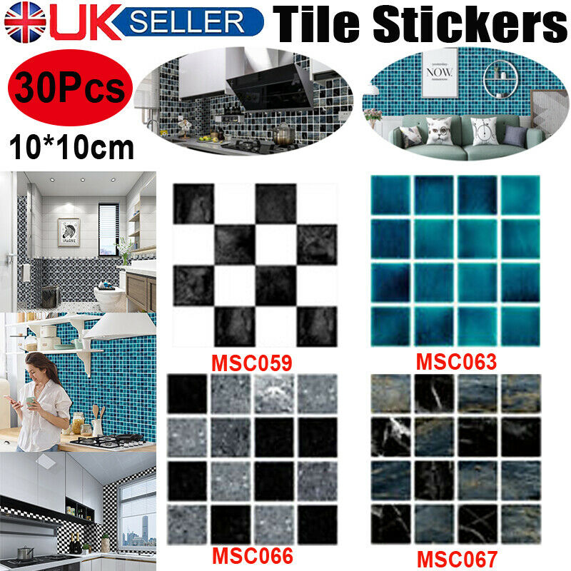 Home Decoration - 30Pc Kitchen Tile Stickers Bathroom Mosaic Sticker Self-adhesive Wall Home Decor
